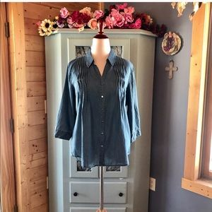 GLORIA VANDERBILT DENIM TOP w/Button Up Sleeve NWT